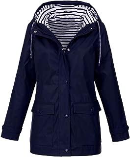FACAIAFALO Womens Hooded Jacket Plus Size, Lightweight Waterproof Hooded Raincoat Active Outdoor Rain Jacket Windbreaker
