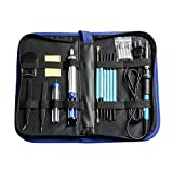 Wolfwhoop H3 Full Set 60W 110V Adjustable Temperature Welding Iron Electric Soldering Iron Kit with 5pcs Tips, 2pcs Tweezers, Desoldering Pump, Tin Wire Tube, Stand and 6pcs Aid Tools in Carry Bag