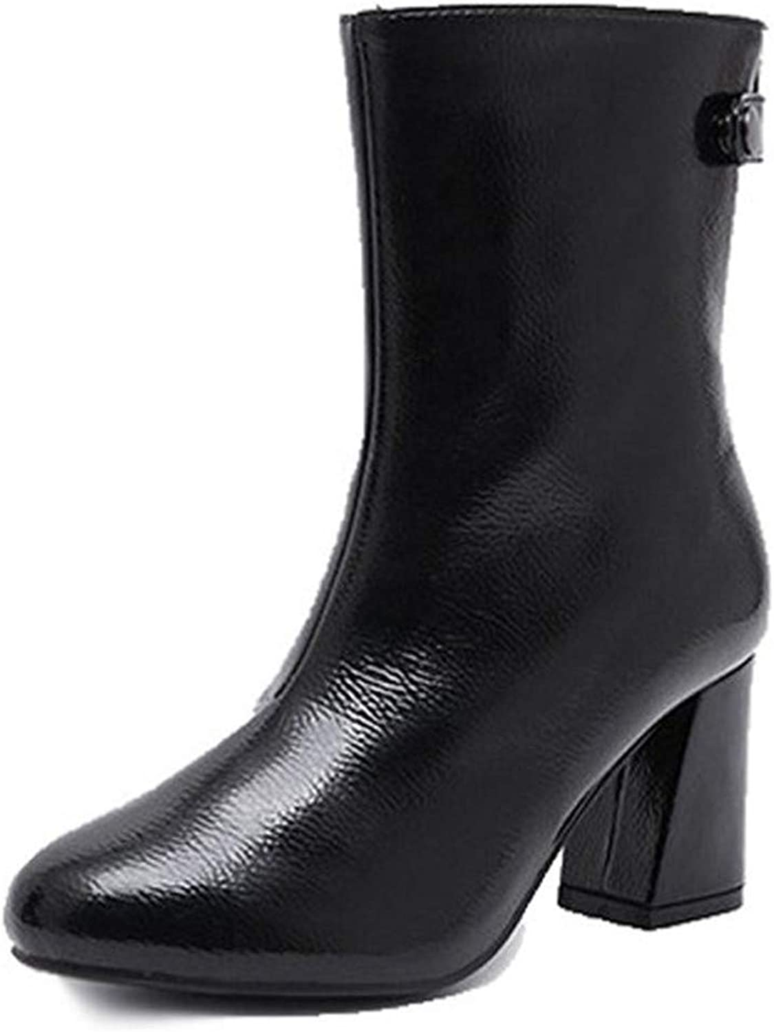 Winter Ladies Black Thick with Pointed Boots Large Size Warm Cotton Lining