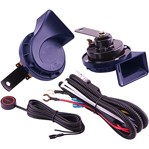 AOLIHAN Car Horns,Loud Train Horn,Truck Horn,Boat Horn,Waterproof 12V Loud Dual-Tone Electric Horn Kit(blue horn with wire and button)