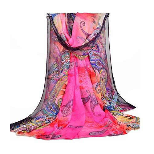 UK_Stone Damen Übergroesse Modisch Sarong Pareo Strandtuch Wickeltuch Bikini Sonnenschutz Decke Cover-up (Boho Fuchsia)