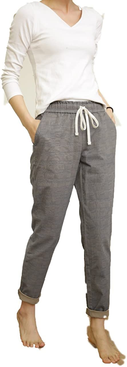 Nova 100% Cotton Women's Casual Pants with Drawstring Waist (Two Colors Optional: Vertical Stripes or Gray Lattice)