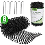 Tapix Anti-cat Network Cat Scat Mat with Spikes Digging Stopper - Cat Deterrent Mat for Indoor and Outdoor 8 feet x 12 inches with 6 Staples