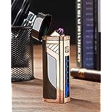 [WDMART] 電子ライター USBライター 充電ライター メタルライター 葉巻用ライター プラズマ 放電式 電気 ライター 6アーク 電気残量可視化 おしゃれ プレゼント 防風 (ブラック)