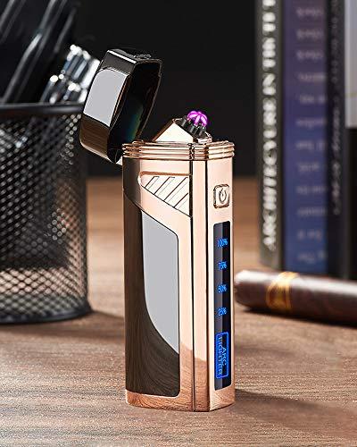 [WDMART] おしゃれ 6アーク 電子ライター USBライター 充電ライター メタルライター プラズマ 放電式 電気 ライター 電気残量可視化 おしゃれプレゼント 防風 (ブラック)