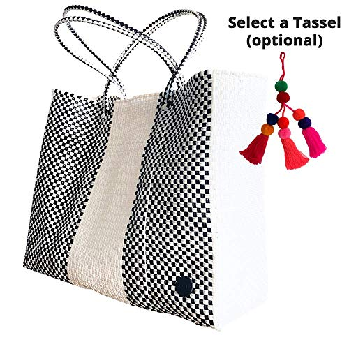 Fashionable Tote Bag, Handmade woven bag, Recycled Plastic, To-Go Bag, Beach Bag, Market Bag, Chic, Colorful Tote, Large Tote, BRISLA BAG, Black/White Linear Pattern