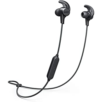 AUKEY Wireless Headphones Bluetooth 5 Sport Earbuds, 3 EQ Sound Modes, 15 Hours Playtime IPX6, Water-Resistant, w/Mic Secure Fit Sports Earphones