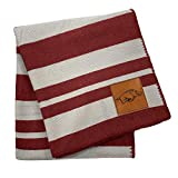 Pegasus Sports NCAA Acrylic Stripe Blanket with Faux Leather Logo Patch- Arkansas Razorbacks Team Color 60x70