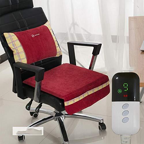BILGFTG Elektrisch verwarmingskussen, 9 temperatuurniveaus, ultrasnel, kunstvezel, wasbaar, voor auto, huis en bureaustoel (gordelkussen 45 x 30 cm, kussen 43 x 43 cm)