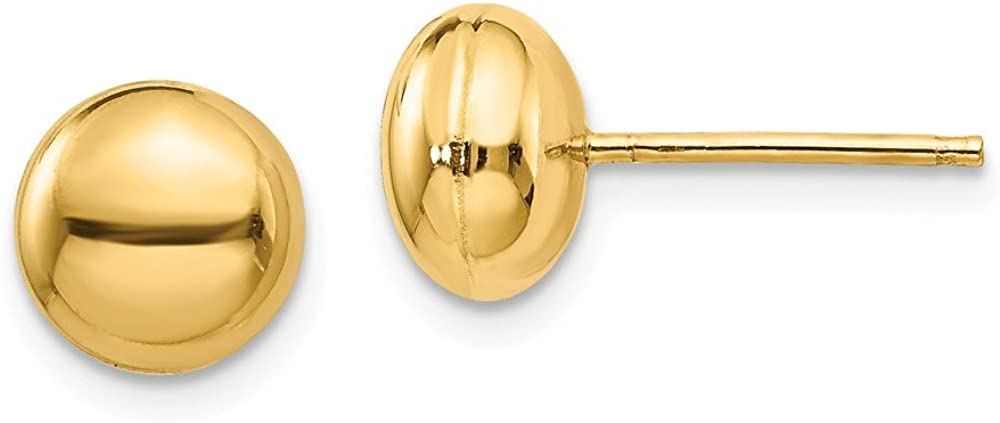 14K Yellow Gold Polished 8mm Button Post Earrings