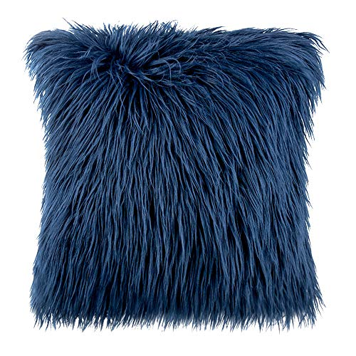 wocharm Pillow Cover Fluffy Soft Decorative Plush Soft Square Pillow covers Pillow Case Faux Fur Cushion Covers For Living Room Sofa Bedroom (Navy)