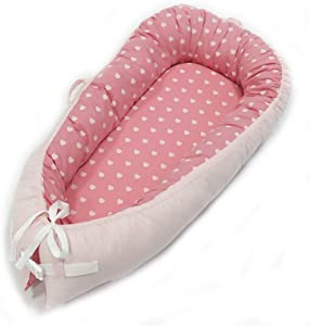 73PENNY Heart Pattern Portable Crib Baby Lounger Comforter Included Breathable  amp  Hypoallergenic 100  Cotton Baby Bassinet for Bed