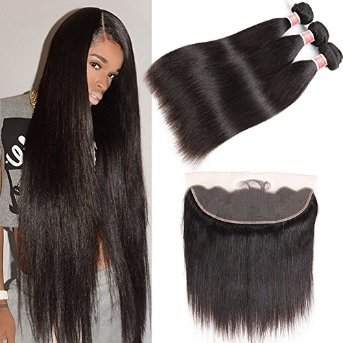 Pizazz Hair Brazilian Straight Hair 3 Bundles With Frontal Closure 13x4 Ear To Ear Lace Frontal With Bundles 9A Unprocessed Virgin Human Hair Bundles with Closure (24 26 28+20)