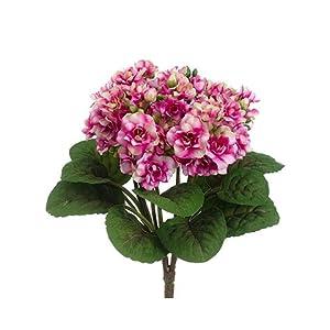 "Silk Flower Arrangements Arcadia Silk Plantation 12"" African Violet Bush Fuchsia Cream (Pack of 12)"