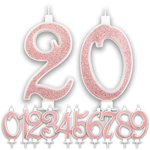 Candeline Grandi Compleanno Rosa Gold Glitter | Numeri brillanti per Torta Festa Birthday Ragazza | Decorazioni Candele Topper Auguri Anniversario Torta | Altezza 13 CM (20 Anni)