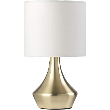 ONLI - lampe à chevet dorée en métal satiné et abat-jour en tissu blanc