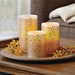 Malaysian Motif Flameless LED Pillar Candles, Set of 3