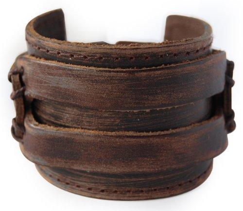 axy LAB1-1 LEDERARMBAND BREIT Serie! ECHT Leder Armband Vintage Leather Bracelet! Surferarmband Herren (Braun/Brown)
