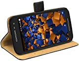 mumbi Echt Leder Bookstyle Hülle kompatibel mit Motorola Moto G3 Hülle Leder Tasche Hülle Wallet, schwarz