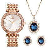 Women Watch Sets 3 Piece Jewelry Gift Set Quartz Wrist Watches with Earring and Necklace (0011 XL003 Set)