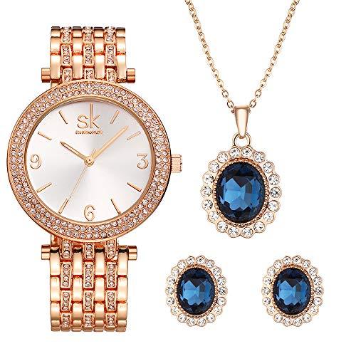 Conjunto de reloj de mujer 3 piezas joyería regalo conjunto cuarzo relojes con pendiente y collar