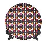 Plato decorativo geométrico de cerámica de 20,32 cm, formas de rombo con paleta inspirada en la época y elementos geométricos, decoración de pared de cerámica accesorio para cenar, fiestas, bodas