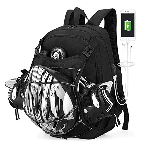 Rollschuhe Schuhe Rucksack Professionelle Aufbewahrungstasche Eislauf Tasche für Kinder und Erwachsene (schwarz)