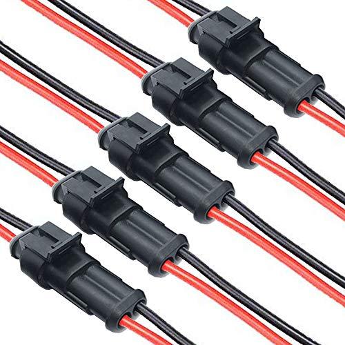 DONJON Auto Impermeabile Connettore, 2 pin connettori per cavi automobilistici, Connettori Elettrici con16 AWG Filo,Terminale Spina Connettore per auto, moto, camion, barca (5 set)