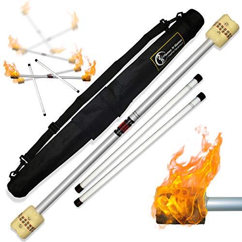 Flames N Games FIRE Devil Stick Set (65mm Wicks) Wooden Sticks, and a Travel Bag! Juggling Devil...