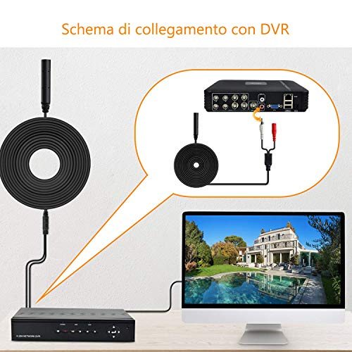 Dericam Hochsensibel Mikrofon Audio Abholung für Überwachungskamera IP-Kamera, Mikrofon-Tonabnehmergerät für Outdoor-Überwachungskamera, Mikrofonanschluss