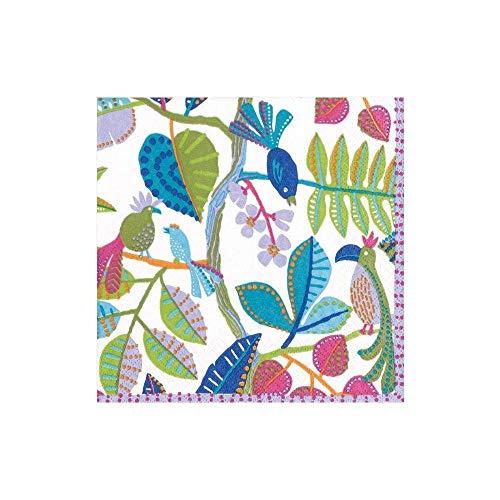 Caspari Paper Cocktail Napkins in White, Package Tovaglioli di Carta Kookaburra, Confezione da 20 Pezzi, Colore: Bianco, Multicolore
