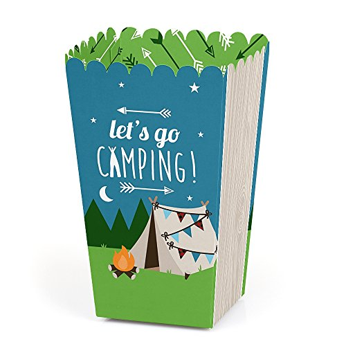 Happy Camper - Camping Baby Shower or Birthday Party Favor Popcorn Treat Boxes - Set of 12