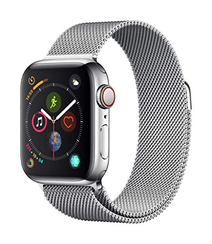 Apple Watch Series 4 (GPS + Cellular) con caja de 40 mm de acero inoxidable en plata y pulsera Milanese Loop en el mismo tono