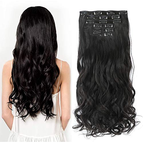Rosa Star 1-Pack 6pcs 24inch Synthetic Hair Pieces Wavy Curly Full Head Clip In On Hair Extensions Women Lady Hairpiece (Natural Color 2#) -  6pcswavy