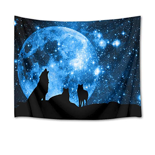 HVEST Wolf Tapestry Wolves on Mountain Wall Hanging Full Moon in Starry Sky Tapestries for Kids Bedroom Living Room Dorm Party Wall Decor,80Wx60H inches