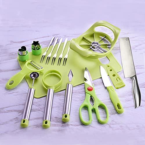 11 pezzi di set di attrezzi per la frutta, tagliere, coltello frutta, coltello da intaglio, pelapatate, forchetta da frutta, taglia mele, Cucchiaio scavo ecc.
