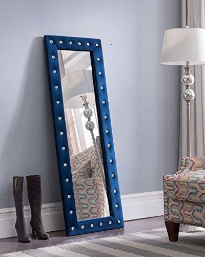 Kings Brand Furniture Modern Upholstered Tufted Standing Floor Mirror, Blue Velvet