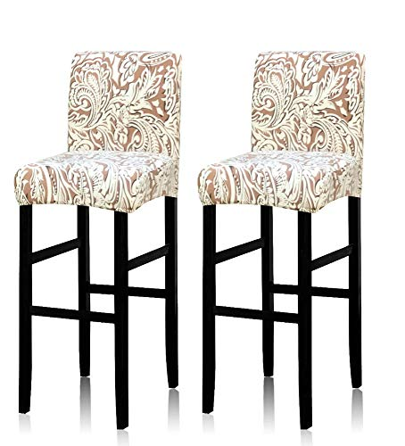 Deisy Dee Stretch Slipcovers Chair Cover for Counter Height Side Chairs Covers Stretch Protectors Pack of 2 C172 (D)