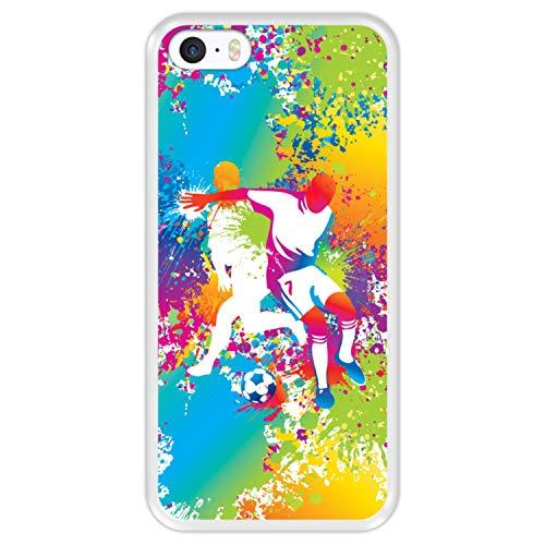 Hapdey Funda Transparente para [ iPhone 5 5S SE ] diseño [ Abstracto, Jugadores de fútbol Multicolores ] Carcasa Silicona Flexible TPU