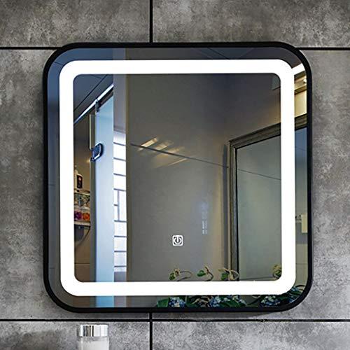 Led-Lichtspiegel, Quadratisch, Badezimmerspiegel Mit Touch-Steuerung, Schmiedeeisenrahmen, Schwarzer Rahmen/Goldrahmen, WeißLicht- / Warmlicht-Wandspiegel