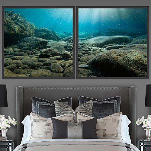 "bestdeal depot Seabed 2 Panels Framed Canvas Wall Art Prints for Living Room,Bedroom Framed Artwork Decoration Ready to Hang - 16""x16""x2 Panels"