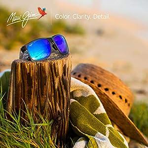 Maui Jim Pokowai Arch Rectangular Sunglasses, Translucent Matte Grey/Blue Hawaii Polarized, Medium