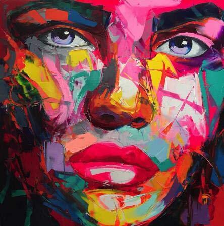 YGKDM Embellecer Francoise Nielly Cuchillo Spray Pintura de la Lona Retrato Abstracto Cara Pintura al óleo Figura Arte de la Pared Imágenes Decoración del hogar 90X90CM como imágenes