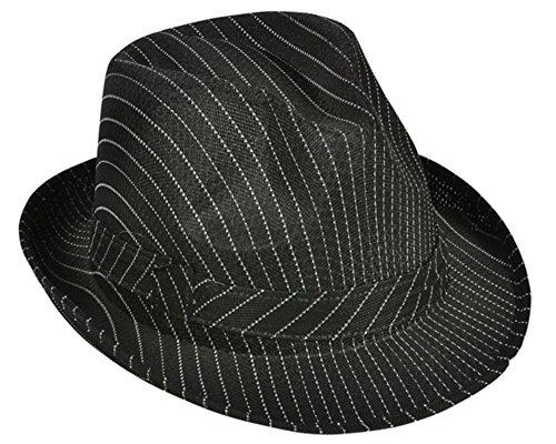 Rhode Island Novelty Roang 20s Gangster Costume Black Pin Stpe Fedora Hat