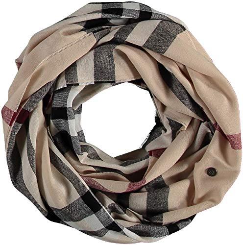 FRAAS Damen Loop-Schal Kariert - 60 x 78 cm Größe - Made in Germany - Stilvoller Schlauch-Schal mit Karo-Muster - Leichtes Rund-Tuch - Karierter Snood-Schal - The Plaid Beige