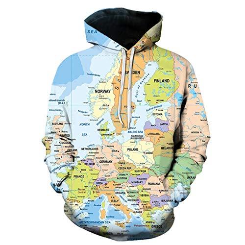 Sudadera Capucha Cordón Gráfico 3D Cool Pullover, Fresco Unisex de Moda Sudadera Impresas en 3D Mapa de Europa Pintura Del Patrón de La Manera de La Personalidad Outwear con Grandes Bolsillos