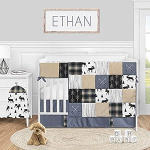 Sweet Jojo Designs Woodland Plaid Arrow Baby Boy Nursery Crib Bedding Set – 5 Pieces – Blue Tan and Grey Black Moose Rustic Patch