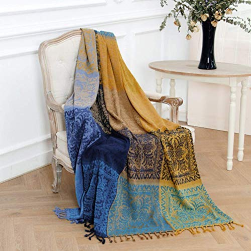 Jbsceen Cotton Throws for Sofa Chair Bed Blanket Throw, Chenille Jacquard Tassels Throw Blanket Sofa Chair Cover Tablecloth - Colorful Tribal Pattern (Dark Blue, 220cm*260cm)