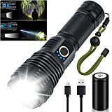 Rechargeable Flashlights High Lumens 90000 Brgiht LED Flashlight Powerful Flash Light Powered 26650 Battery, 10 Modes, Zoomable & IP65 Waterproof Tactical Flashlights for Emergencies, Camping