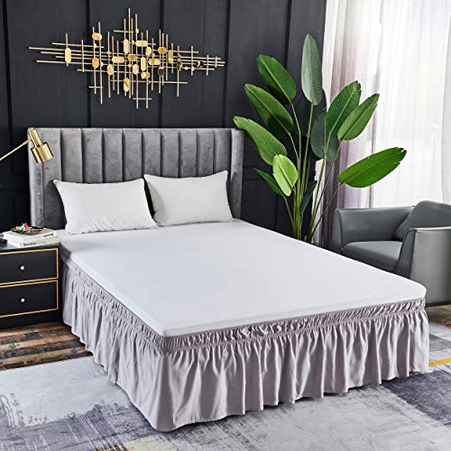 YANBING Wrap Around Bed Skirts, 16 Inch Drop Dust Ruffles, with Adjustable Elastic Belt and Easy to Put On/Off, Grey Pink, Queen